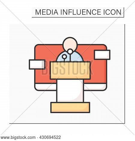 Public Speaker Color Icon. Spokesperson Reporting Official Government Position For News Agencies. Me