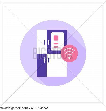Smart Fridge Flat Icon. Automatic Freezing. Smart Home. Digital Smart Technologies Concept. Color Ve