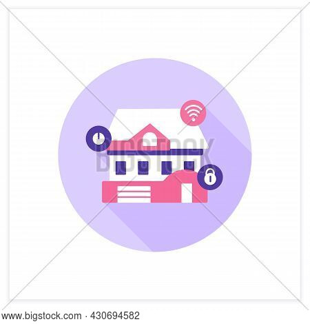 Smart Home Flat Icon. Digital Smart Technologies Concept. Modern Residence, Connected To Smart Home
