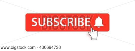 Flat Subscribe Button With Ring Bell Isolated On White Background. Subscribe Banner Design Template