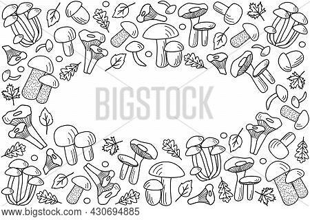 Doodle Style Mushroom Icons Vector. Illustration Of Boletus, Chanterelles, Honey Agaric, Champignons