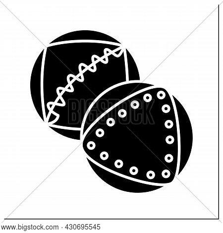 Medicine Ball Glyph Icon. Two Heavy Medicine Balls. Concept Of Home Gym Athlete Training, Personal F