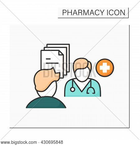 Pharmaceutical Care Color Icon. Provision Of Drug Therapy.practitioner Takes Responsibility For Pati