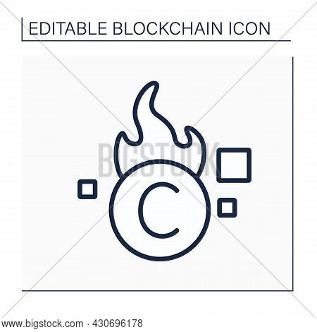Burn Cryptocurrency Line Icon. Removing Unusable Tokens. Virtual Cabinet, Account, Service. Digital