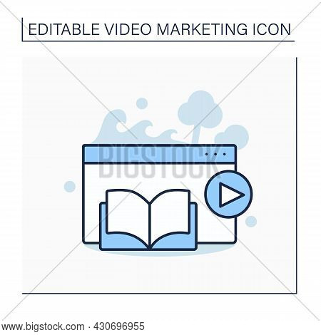 Narrative Video Line Icon. Video Clip Include Classic Storytelling Elements, Characters, Sequence Of