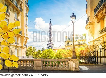 Famous Eiffel Tower Landmark And Paris City At Summer, Paris France With Sunshine At Fall
