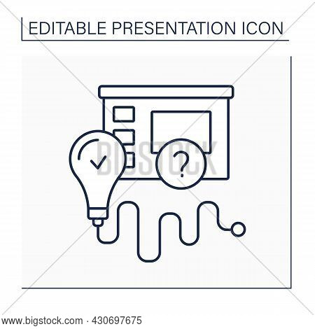 Conclusions Line Icon. Summarizing Main Points Of Presentation. Creating Lasting Impressions On Audi