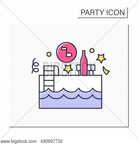Pool Party Color Icon. Events Near And In Swimming Pool. Outside Celebrations With Snacks And Music.