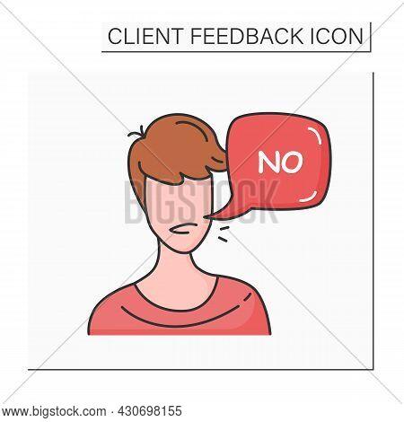 Customer Negative Feedback Color Icon. Client Head With Negative Comment Speech Bubble. Marketing Se