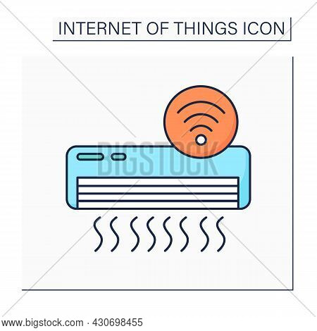 Smart Air Condition Color Icon. Smart Home Climate Control. Intelligent Ventilation. Digital Smart T