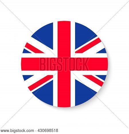 Flag Uk. Round Union Jack. British Icon. Circle Of England Or Great Britain. English Background. Ban