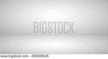 White-gray Background. Grey Backdrop With Gradient For Studio. Empty Room With Gray Wall, Floor And