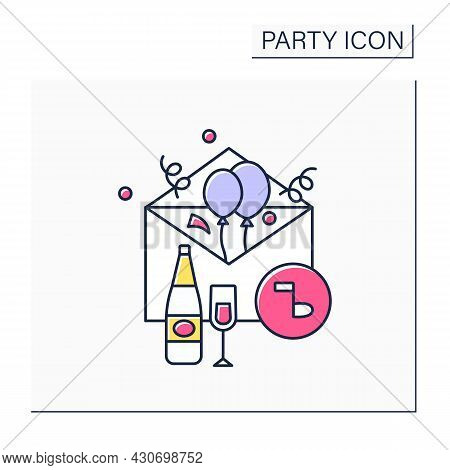 Invitation Card Color Icon. Card For Guests Invites Friends To Special Event. Postcard Invitation On