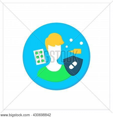 Allergic Activity Probiotics Flat Icon. Allergy Reaction Medication And Medical Treatment Concept. A