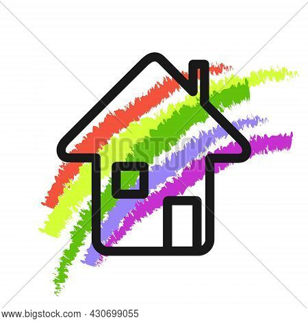 Rainbow, House Icon. Everything Will Be Good Concept. Black Contour Line Image, Multicolored Ink Bru