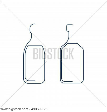 Bottle Continuous Line Rum And Liquor In Linear Style On White Background. Solid Black Thin Outline.