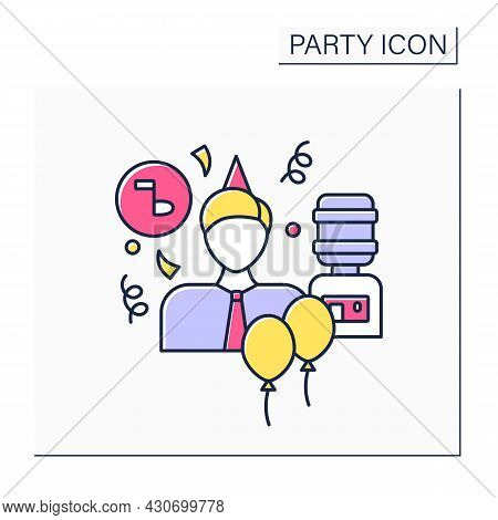Office Party Color Icon. Party For All People In Company, Department. Birthday Celebration With Coll