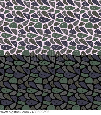Stones Shapes Seamless Pattern. Neutral Grey Color Shades Background. Vector