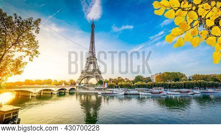 Paris Eiffel Tower And River Seine With Sunrise In Paris, France. Eiffel Tower Is One Of The Most Ic
