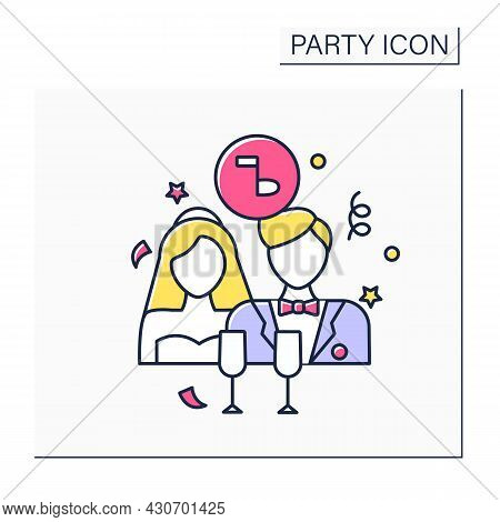 Wedding Party Color Icon. Wedding Ceremony.bride, Groom, And Attendants. Party For Friends And Relat