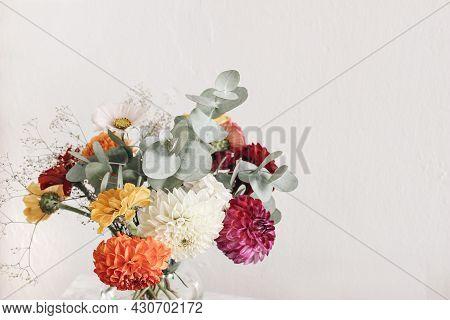Bautiful Bouquet Of Colorful Dahlia, Zinnia. Cosmos, Gypsophila Flowers And Eucalyptus Branches. Blu