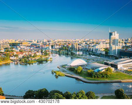 Minsk, Belarus. Cityscape Of Minsk, Belarus. Summer Season Sunset Time Nemiga District