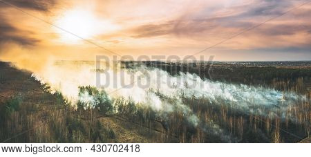 Aerial View. Spring Dry Forest Burns During Drought Hot Weather. Bush Fire And Smoke During Sunset.