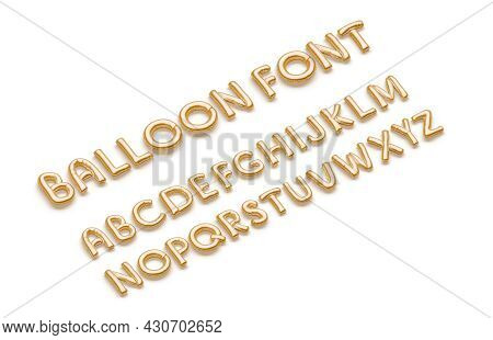 Inflated Gold Balloon Font With Capital Alphabet, Side View, 3d Rendering. Matte Ballon Typeset For