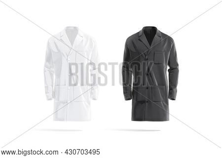 Blank Black And White Medical Lab Coat Mockup, Front View, 3d Rendering. Empty Labcoat With Pocket F