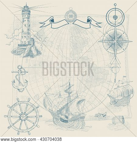 Vector Background On The Theme Of Travel, Adventure And Discovery. Vintage Hand-drawn Sailboats, Sun