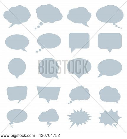 Collection Of Comic Or Cartoon Speech Bubbles Isolated On White Background, Vector Illustration Icon
