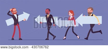 Business People, Majority And Minority In Social Group, Opposite Direction. Man Thinking To Change H