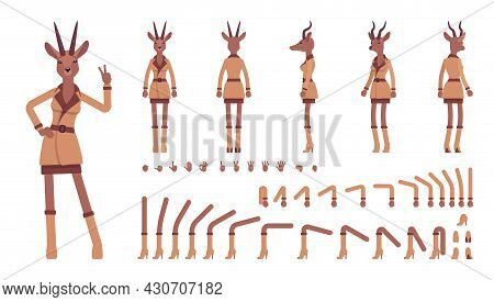 Roe Deer Woman, Elegant Lady, Animal Head Human Construction Set. Attractive Deerlike Businesswoman,