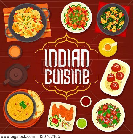 Indian Cuisine Menu Cover With Vector Dishes Of Vegetables And Fried Milk Dessert. Potato Spinach Cu