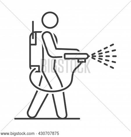 Mite Disinfectant Man Icon. Disinfector Icon. Linear Image Of A Person With A Disinfectant Against T
