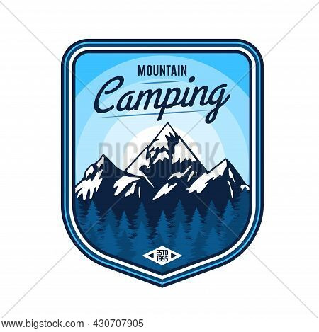 Mountain Camping Icon Of Vector Outdoor Adventure, Travel, Tourism And Expedition Design. Mountain A
