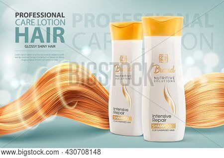 Hair Shampoo Or Conditioner, Cosmetic Bottles And Shining Hair Vector Ad Banner. Professional Care L