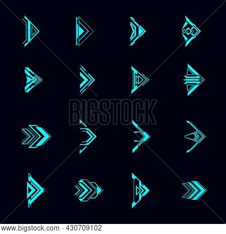 Hud Arrows, Futuristic Navigation Pointers, Sci Fi Ui Interface. Digital Techno Style Vector Element
