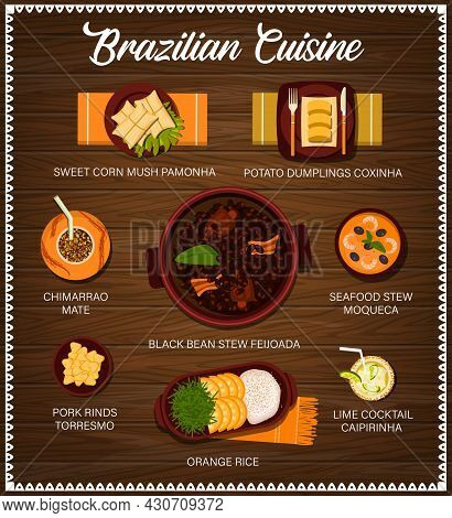 Brazilian Cuisine Vector Menu Sweet Corn Mush Pamonha, Potato Dumplings Coxinha And Chimarrao Mate.
