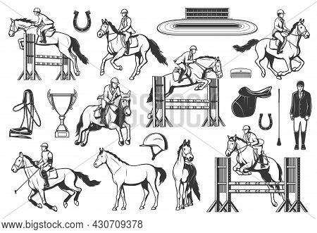 Equestrian Sport, Horse Racing And Show Jumping. Jockey Riding Stallion, Jumping Obstacles And Racin