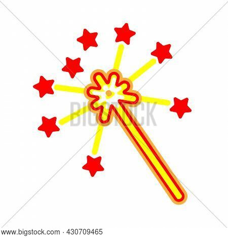 Magic Wand And Stars Flat Icon. Cartoon Sorcery Stick Isolated On White Background. Celebration Symb