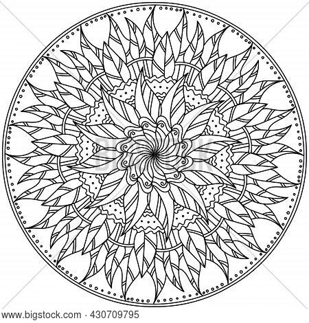 Ornate Mandala With Leaves And Patterns, Autumn Meditative Zen Coloring Page Vector Illustration