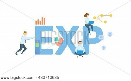 Exp, Export. Concept With Keyword, People And Icons. Flat Vector Illustration. Isolated On White.