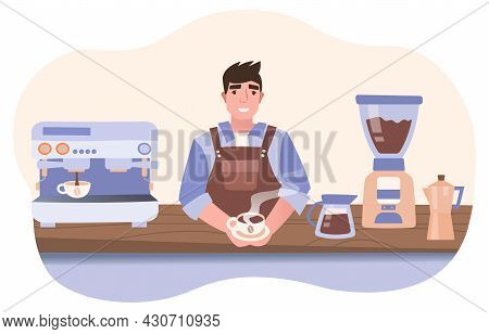 Man Serving Coffee. Scene From Shop. Employee Serves Client In Restaurant. Signboard To Promote Cate