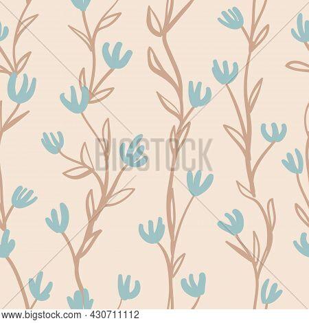 Vector Brown Blue Vines Ecru Floral Repeat Pattern