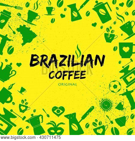 A Set Of Green Brazilian Icons And Symbols Against Yellow Background.