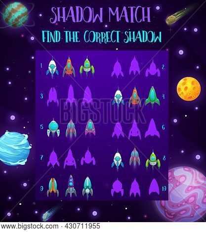 Galaxy Spaceships Kids Maze Game, Space Vector Riddle With Rockets Silhouettes. Cartoon Shadow Match