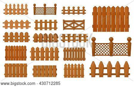 Garden And Farm Cartoon Wooden Fence, Vector Palisade Gates, Balustrade With Pickets. Enclosure Rail
