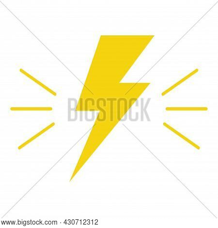 Flat Yellow Lightning Bolt Icon For Apps And Websites Isolated On White Background. Symbol Of Danger