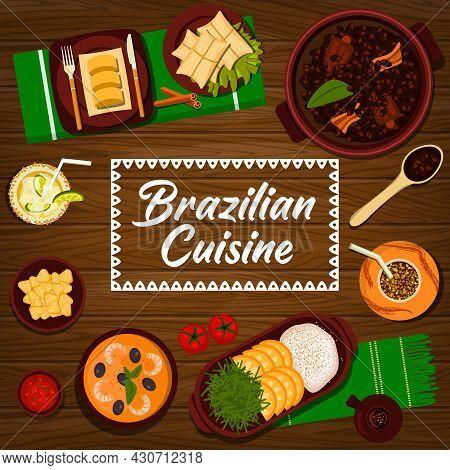 Brazilian Cuisine Vector Black Bean Stew Feijoada, Sweet Corn Mush Pamonha And Potato Dumplings Coxi